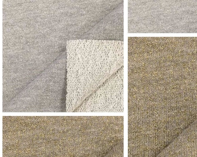 French Terry With Lurex Fabric By the Yard (Wholesale Price Available By the Bolt) USA Made Premium Quality - 1 Yard- 6077GH10