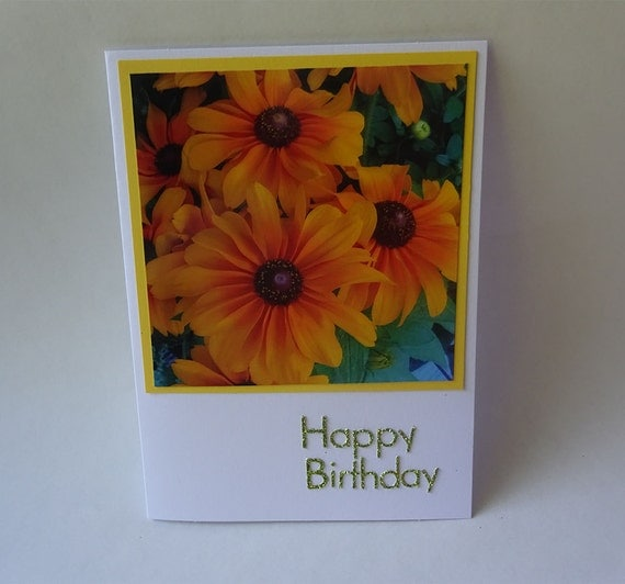 Birthday Card with Yellow Flowers - #1991