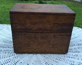 Vintage RECIPE box,  wood box, small lift top box, trinket box, card box, storage