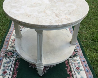 Marble top round end table