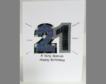 Special Wishes Large Birthday Tartan Number 21 Card SW BI10
