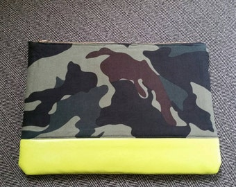 Camouflage and lime green clutch