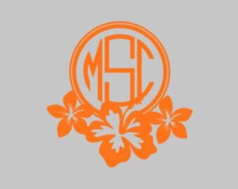 hibiscus monogram, hibiscus flower monogram, flower monogram
