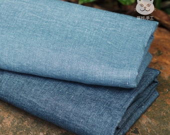 Thin Blue Denim Fabric Cotton Linen Blend Fabric for Summer Clothing,Dress,Shorts Handcraft