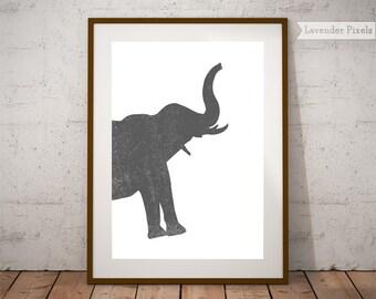 Printable wall art Kids room decor Animal print Baby shower gift Safari nursery Wall decor Elephant print Nursery decor Silver wall prints