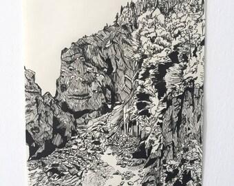 Newfoundland Landscape (Pen & Ink, Original Art)