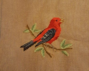 Needlepoint Redbird Canvas with Design already started 18x13