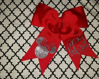 Cheer bow, minnie mouse, monogram