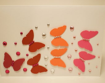 Handmade Maroon and Pink Rhinestoned Butterfly Card