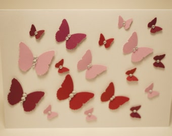 Handmade Maroon and Lavender Butterfly Card