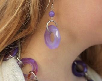 Purple/Lavendar Agate Dangle Earrings
