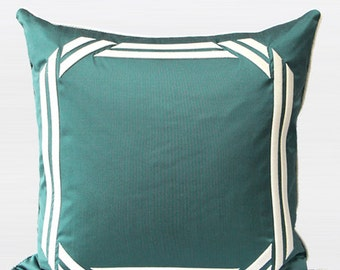 """Luxury Lack Blue Embroidered Modern Frame Textured Pillow Cover 20""""X20"""""""