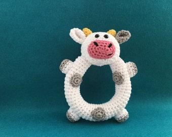 Crochet Cow Baby Rattle