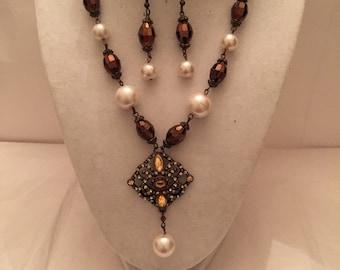 Amber Pearl Drop Beaded Jewelry Set