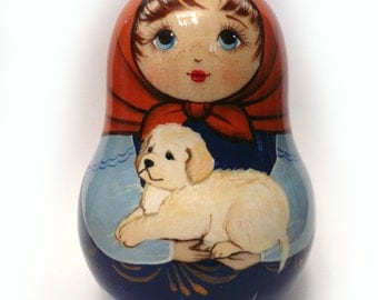 Lucy with Golden Retriever Labrador Puppy Roly-Poly Matreshka with a Jingle