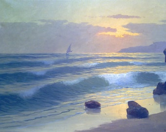 Painting seascape m. Rinaldi-1940-Navy-large oil on canvas seascape Painting