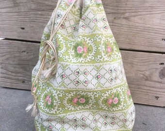 Vintage 1960s Clothespin Laundry Lined Drawstring Bag Pouch