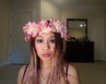 Pink hibiscus flower crown
