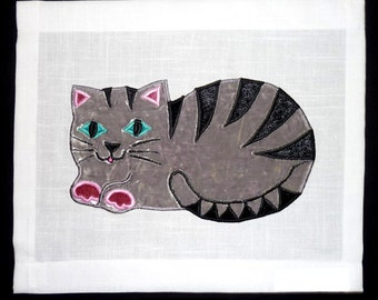 Kid's Wall-hanging - Applique Textile Art. Perfect Gift for baby, child, Christening, cat-lovers and xmas/christmas.. Family Heirloom - Cat