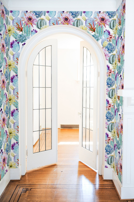 Watercolor Cactus Wallpaper Removable Wallpaper