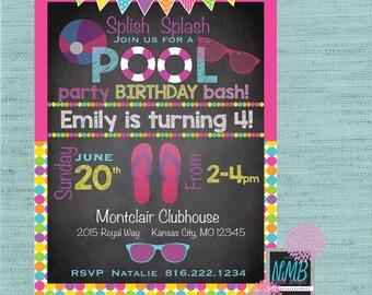 Pool Party Birthday Bash 5x7