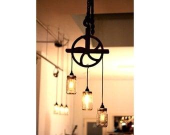 Antique Pulley & Mason Jar Lamp