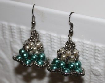 Green & white beaded handmade beadweaving-earrings