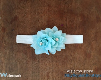 Cute simple elegant baby infant elastic headband with fabric flower and rhinestone center