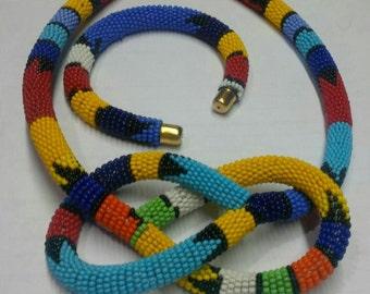 Maasai beaded choker & matching bracelet