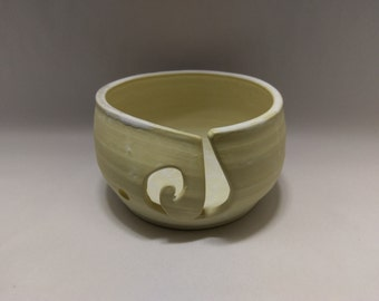 YARN BOWL - Wide White Spiral Cut - Handmade Ceramic from Cup & Bowl Studio in Pueblo, Co
