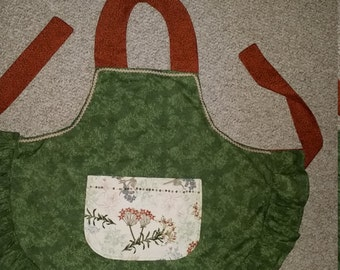 Green Ruffles and Button Pocket Apron