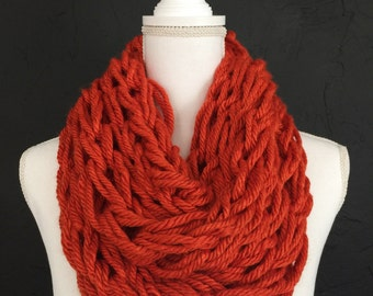 Loose Knit Inifinity Scarf || Chunky Scarf || Handmade || Fall Fashion || Pumpkin