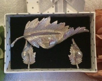 "Wonderful Vintage ""CORO"" Silvertone LEAF Brooch and Matching Clip Earrings-Each Piece is Stamped ""CORO""-Beautiful Collectable Set"