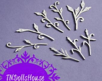 Cardboard ornaments - blades of grass - 6 pcs.