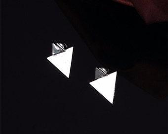 Triangle stud earrings, geometric earrings, silver earrings modern, stud earrings, earrings, Gift for her, minimal earrings,silver, triangle