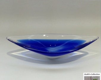 Blue, White and Clear Glass Bowl / Dish
