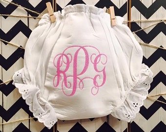 Boutique Style Monogram Baby Bloomers