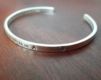 Customizable hand stamped bracelet, 4mm , 999-Fine Silver  [ #LTU-B001 ]