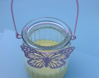 Vanilla scented butterfly jar candle