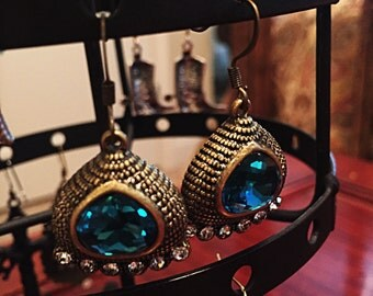Turquoise crystal bronze earrings