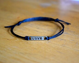 Love Charm Bracelet, Antique Bronze Love Charm, Black Waxed Cotton Bracelet, Adjustable, Charm Bracelet, Friendship Gift, Love