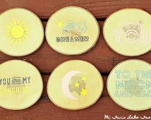 Sunshine & Moon Coasters / You Are My Sunshine / Love You To The Moon and Back / Rustic Wood Slice Coasters / Pink, Gray, Yellow - Set of 6