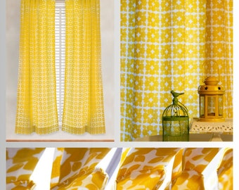 Yellow & White Block Print Curtains and Pillow Covers