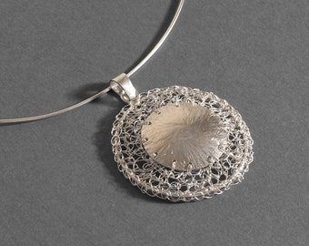Necklace with said woven in silver thread - Silver thread woven bracelets