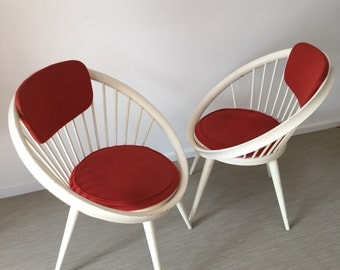 Set of 2 circle Chair by Yngve Ekström