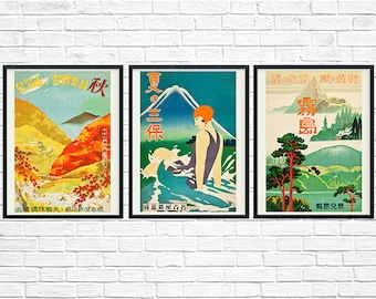 Japanese Travel Posters, Onsen, Miho Peninsula, Kirishima, 1930s, Print Set, Travel Print, Asian Travel, Japanese Print, Art Deco Print