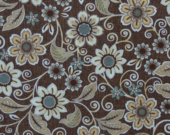 Flowers and Swirls on brown background Burlap and Lace by Dover Hill for Benartex Quilting Cotton Fabric, 1/2 Yard Increments