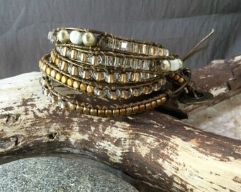 Beautiful 5  Wrap Bracelet, Beaded Bracelet, Leather Cord, Button Closure,Handmade