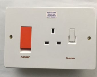 crabtee cooker switch double 13a socket  45amp 4520/1 with metal back box 9052