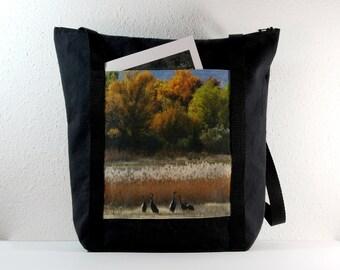 Heavy Cotton Tote with Bosque del Apache Cranes in the Fall Photo Print